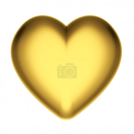 Photo for Golden heart isolated on white background. High resolution 3D image - Royalty Free Image