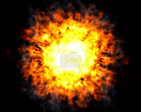 Photo pour Explosion puissante avec centre chaud blanc et effet de mouvement flou sur fond noir - image libre de droit