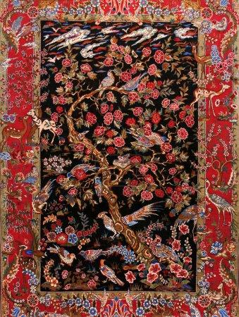 Photo pour Tapis turcs en soie avec ornement floral fond - image libre de droit