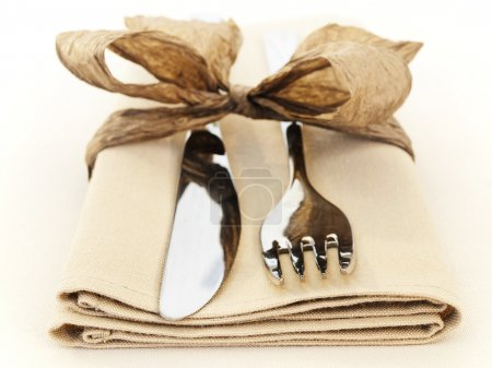 Photo for Fork and knife with napkin (shalow DOF) - Royalty Free Image