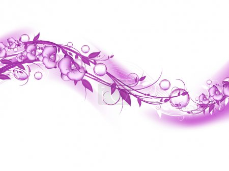 Illustration for Abstract floral with orchids and bubbles in violet. Copypace for your text - Royalty Free Image