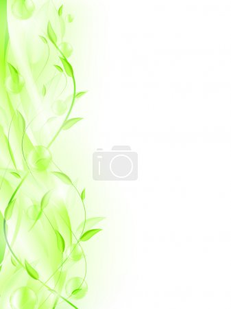 Illustration for Green leaves with bubbles and copyspace for your text. EPS 10 - Royalty Free Image