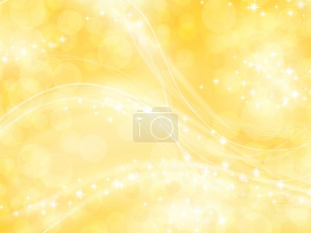 Illustration for Bright shining golden background with bokeh elements and stars - Royalty Free Image