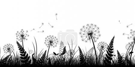 Illustration for Summer field with grass and dandelions in black and white - Royalty Free Image