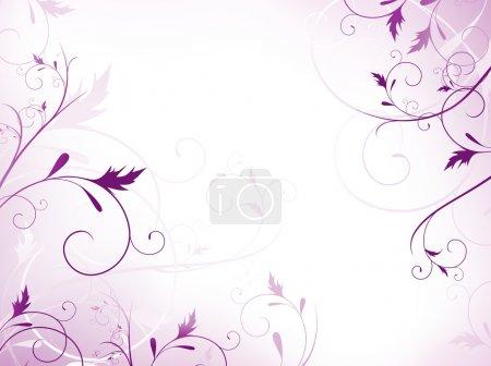 Illustration pour Illustration de cadre floral avec tourbillons en violet - image libre de droit