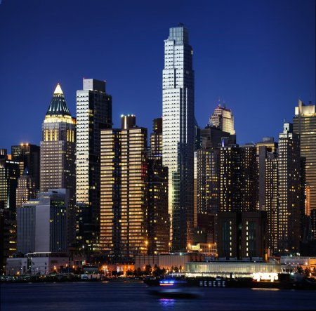 Photo for NYC taken from JERSEY side - sunset new york manhattan at night - Royalty Free Image