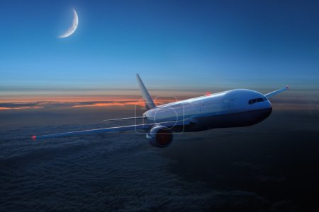 Airplane in the sky at night- Passenger Airliner /...