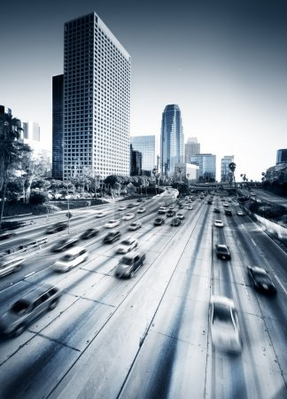 Photo for Los Angeles HighWay - wide angle photo of LA - Royalty Free Image