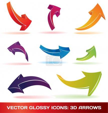 Colorful 3d vector arrows set