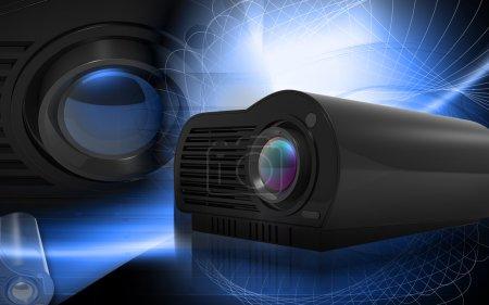 Photo pour Illustration numérique du projecteur multimédia en arrière-plan couleur numérique - image libre de droit
