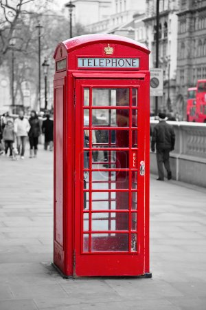 Photo for Famous red telephone booth in London, UK - Royalty Free Image