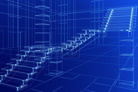 Photo pour Croquis abstrait de l'escalier - image libre de droit