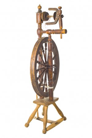 Antique vintage spinning-wheel,a distaff