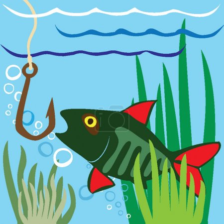 Illustration for Fishing. Fisher. Fish. - Royalty Free Image