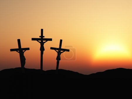 Photo for The crucifixion. A cross with Jesus Christ. A bible theme - Royalty Free Image