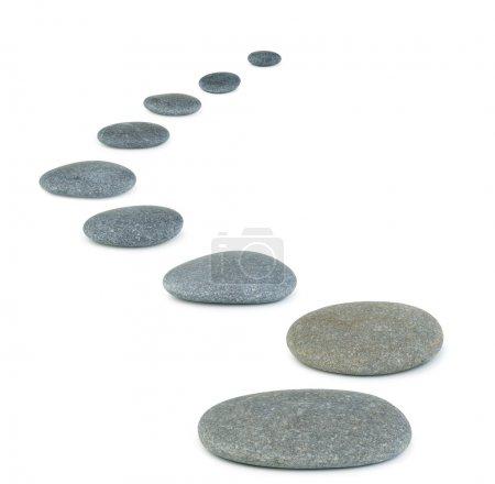 Photo pour Rangée de cailloux. pierres de la mer. Il est isolé sur fond blanc - image libre de droit