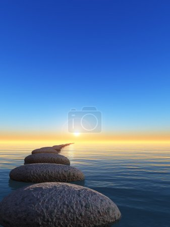 Photo for Rock and sunrise. The abstract bridge in the open ocean from a pebble - Royalty Free Image