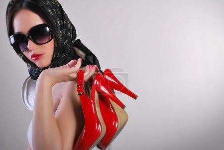 Model, girl, studio, background, white,