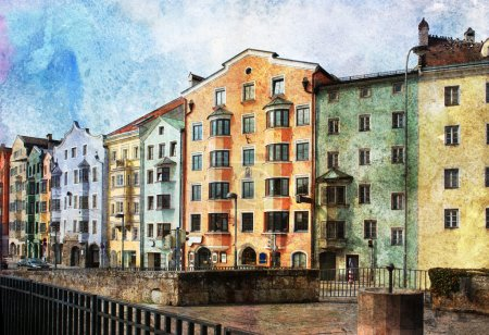 Photo for Streets of Innsbruck, Austria. Made in artistic watercolor style with texture - Royalty Free Image