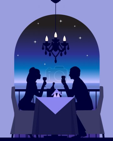 Illustration for An elegant couple enjoying a romantic dinner date - Royalty Free Image