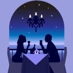 An elegant couple enjoying a romantic dinner date...