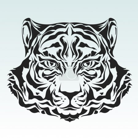 Illustration for Tribal tiger head black silhouette - Royalty Free Image