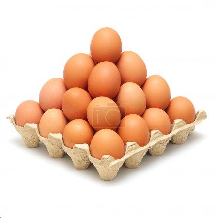 Photo pour Pyramide d'œufs bruns isolés sur fond blanc - image libre de droit