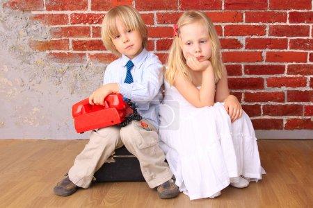 Photo pour Beaux enfants blonds. série - image libre de droit