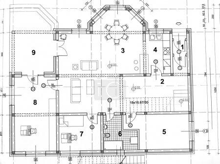 Photo pour Vue frontale du plan architectural gros plan - image libre de droit
