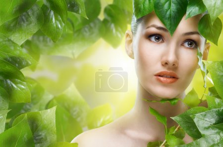 Photo for A beauty girl on the leaves background - Royalty Free Image