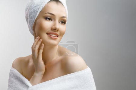 Woman with bathtowel