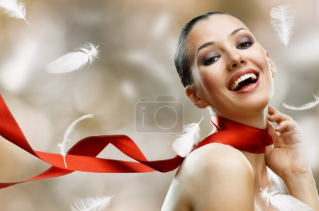Photo for Beauty girl on the blur background - Royalty Free Image