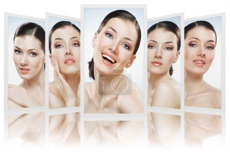 Photo for Beauty girls on the blue background collage - Royalty Free Image