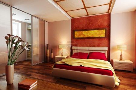Photo pour Style moderne chambre à coucher intérieur rendu 3d - image libre de droit