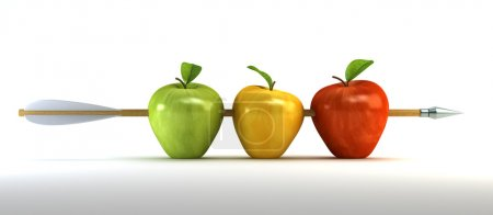 Photo for 3d scene with pierced apples by arrow - Royalty Free Image