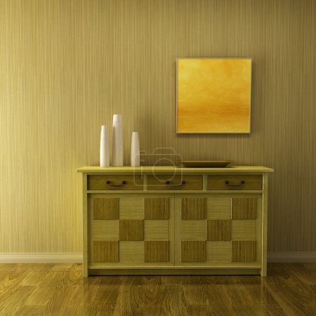 Lounge room with cupboard