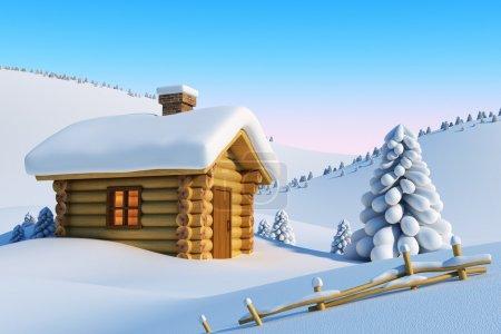 Photo pour Maison en rondins et sapin dans un paysage montagneux enneigé - image libre de droit