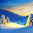 Winter landscape with fir trees, 3d rendering...