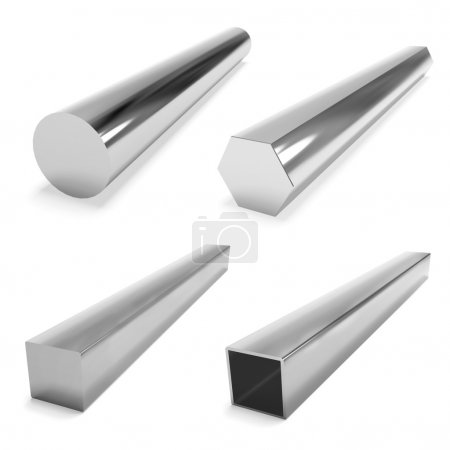 quatre blocs d'acier inoxydable sur le blanc