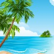 Vector illustration - Tropical landscape with beac...