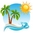 Vector illustration - Two palm-tree on the tropica...