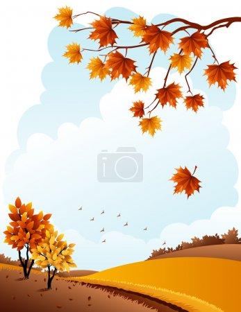 Illustration pour Illustration vectorielle - paysage rural automnal et branche d'érable - image libre de droit