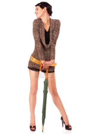 Dark-haired girl with umbrella