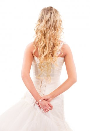 Bride with long fair hair from back