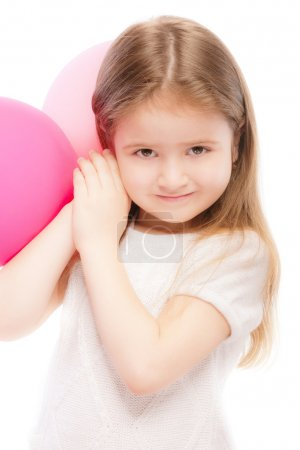 Portrait of beautiful preschool child with balloon