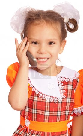 Little girl speaks on phone