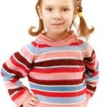 Portrait of little girl, isolated on white backgro...