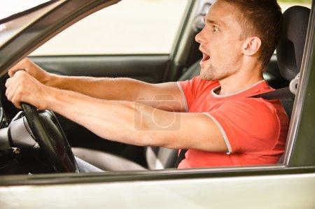 Driver has at wheel