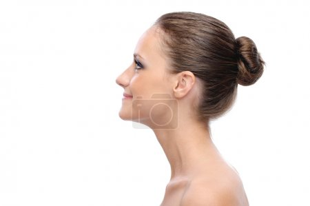 Portrait of profile charming woman