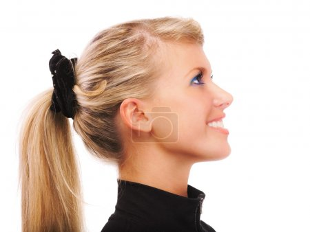 Portrait of girl with ponytail in profile